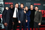 Mo McRae, Director Christian Gudegast, Gerard Butler, Kaiwi Lyman, Brian Van Holt, and Maurice Compte attend the Los Angeles Premiere of DEN OF THIEVES