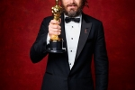 "Casey Affleck poses backstage with the Oscar for Performance by an actor in a Leading role, for work on ""Manchester by the Sea"""