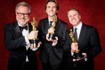 "Rich Moore, Byron Howard and Clark Spencer accept the Oscar for Best animated feature film of the year, for outstanding work on ""Zootopia"""