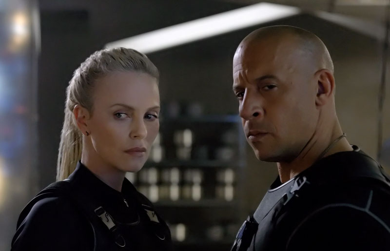 Charlize Theron and Vin Diesel in The Fate of the Furious